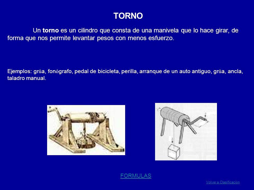 TORNO Un torno es un cilindro que consta de una manivela que lo hace girar, de forma que nos permite levantar pesos con menos esfuerzo. Ejemplos: gr ú