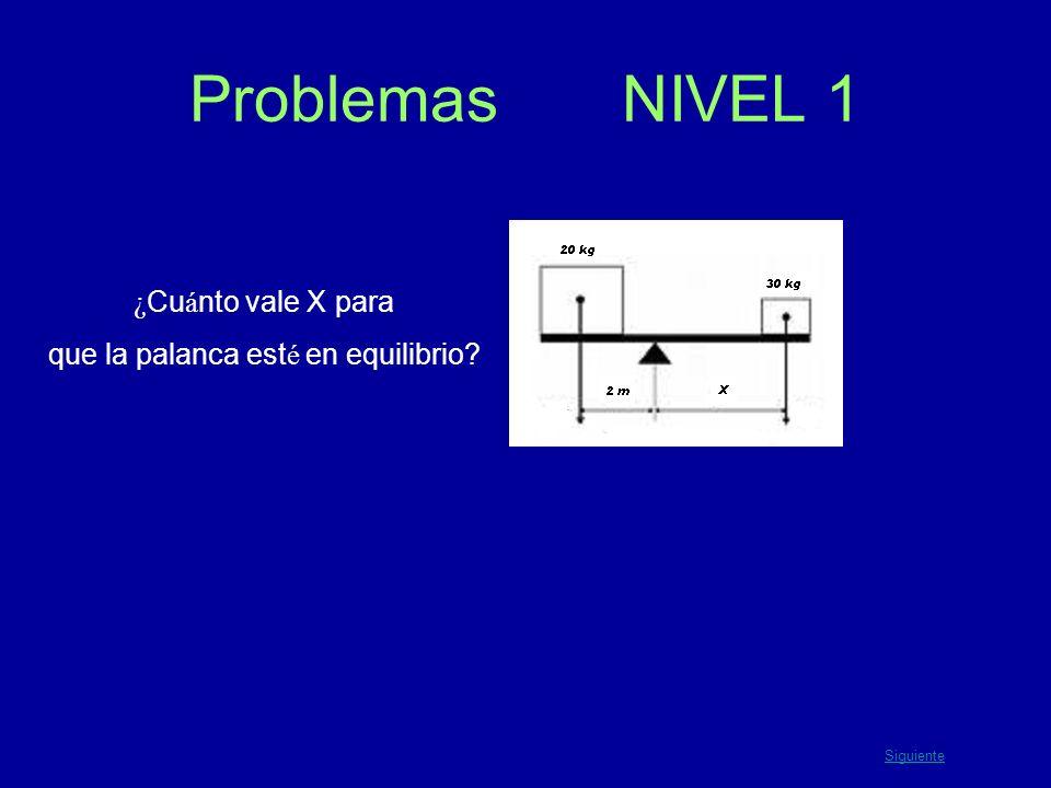 Problemas NIVEL 1 ¿ Cu á nto vale X para que la palanca est é en equilibrio? Siguiente