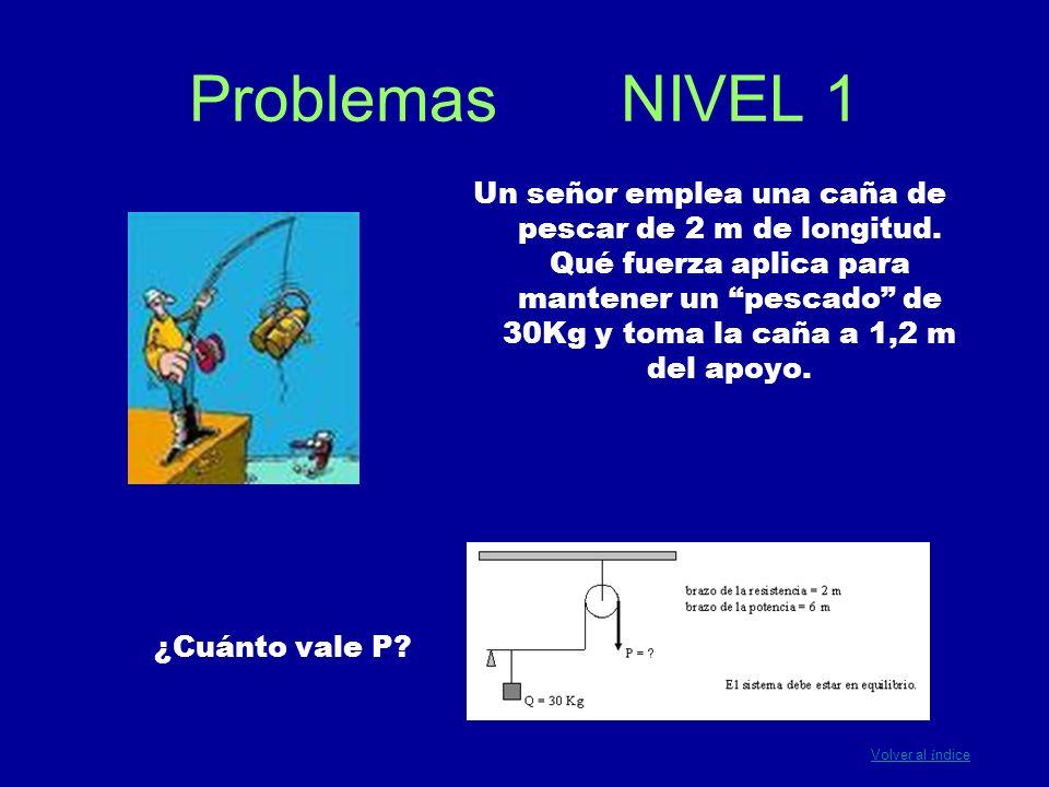 Problemas NIVEL 1 ¿Cuánto vale P? Un señor emplea una caña de pescar de 2 m de longitud. Qué fuerza aplica para mantener un pescado de 30Kg y toma la