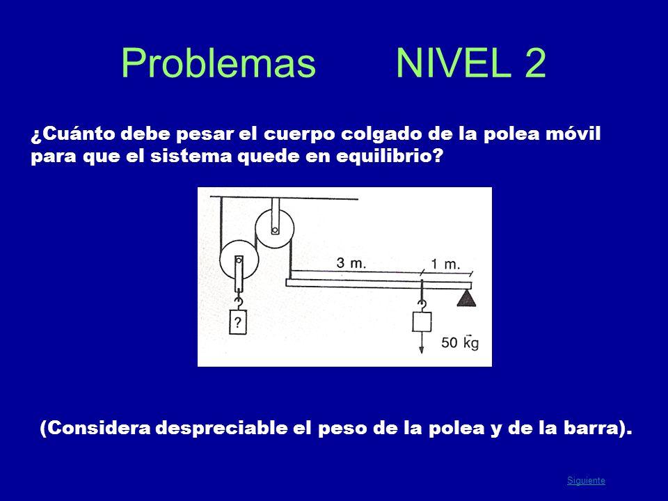 Problemas NIVEL 2 ¿Cuánto debe pesar el cuerpo colgado de la polea móvil para que el sistema quede en equilibrio? (Considera despreciable el peso de l