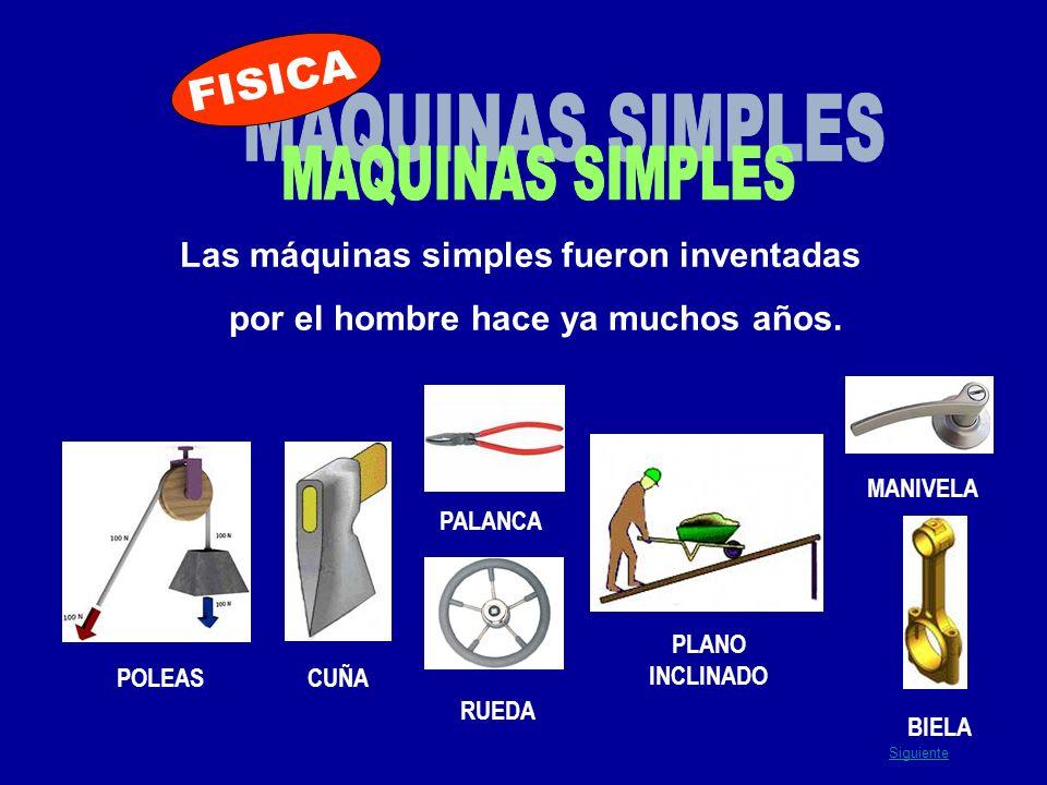 Las máquinas simples fueron inventadas por el hombre hace ya muchos años. POLEASCUÑA PALANCA RUEDA PLANO INCLINADO BIELA MANIVELA Siguiente