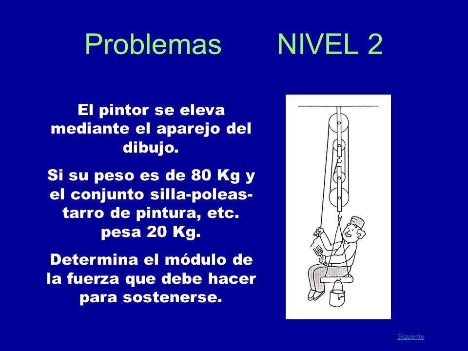 Problemas NIVEL 2 El pintor se eleva mediante el aparejo del dibujo. Si su peso es de 80 Kg y el conjunto silla-poleas- tarro de pintura, etc. pesa 20