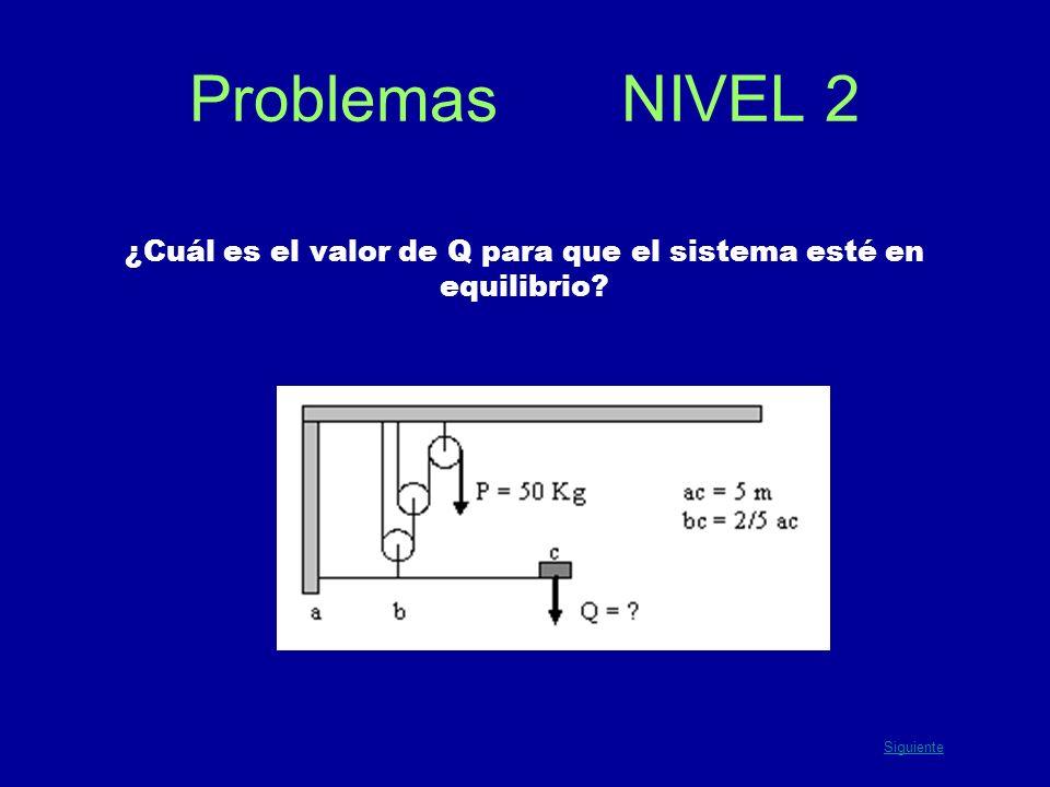 Problemas NIVEL 2 ¿Cuál es el valor de Q para que el sistema esté en equilibrio? Siguiente