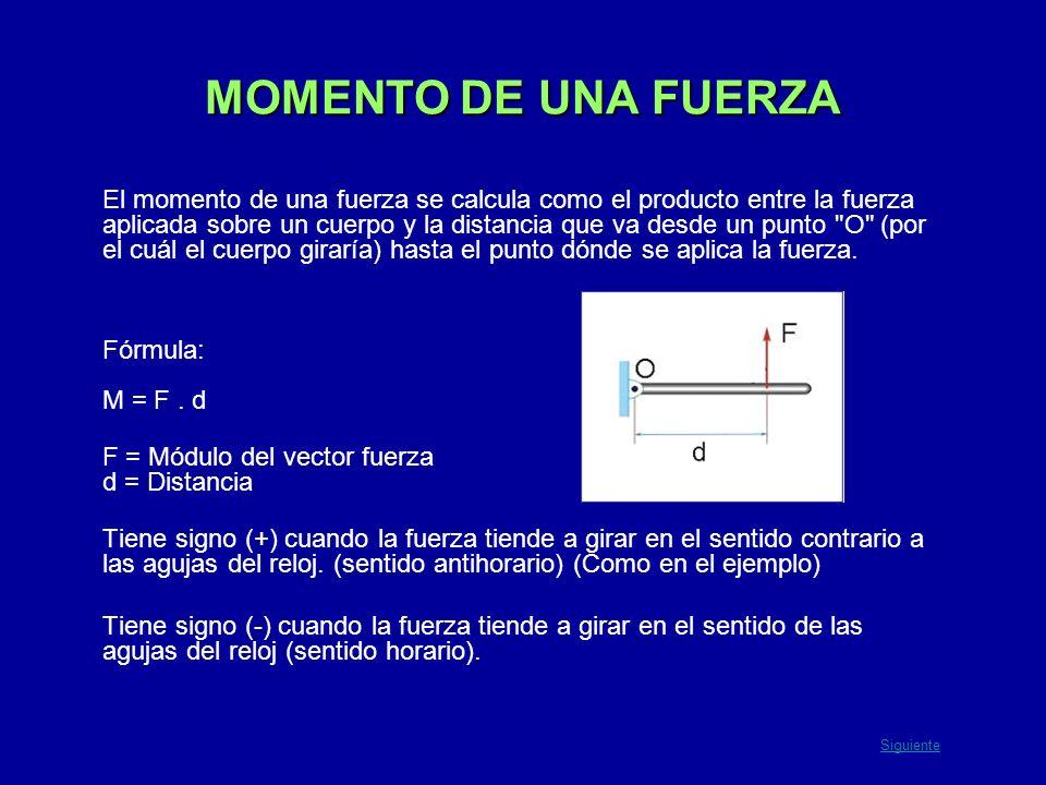 MOMENTO DE UNA FUERZA El momento de una fuerza se calcula como el producto entre la fuerza aplicada sobre un cuerpo y la distancia que va desde un pun