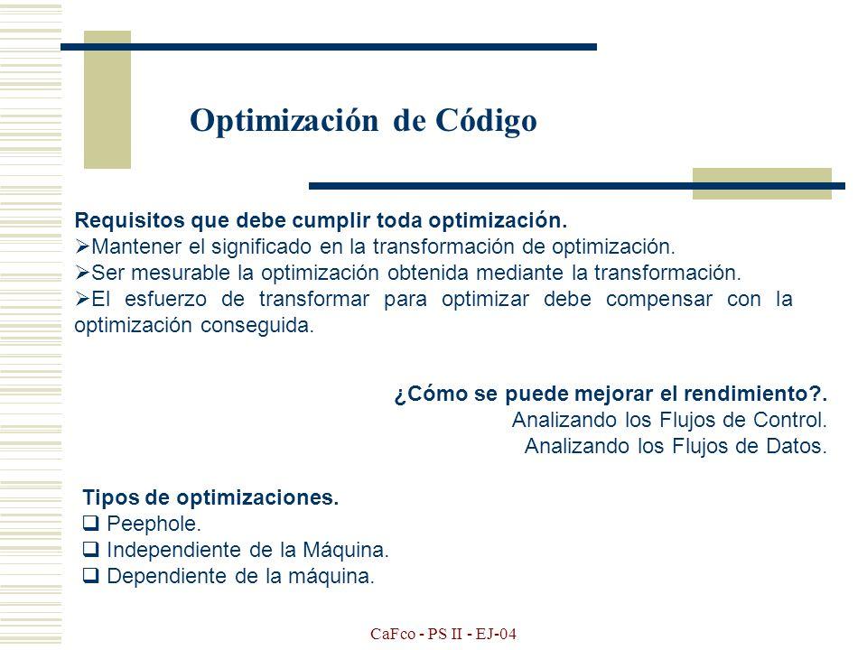 CaFco - PS II - EJ-04 La optimización de código no es un problema fácil, y depende de cual sea el nivel deseado de optimización. Toda optimización con