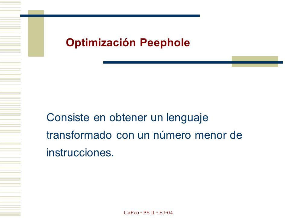CaFco - PS II - EJ-04 Requisitos que debe cumplir toda optimización. Mantener el significado en la transformación de optimización. Ser mesurable la op