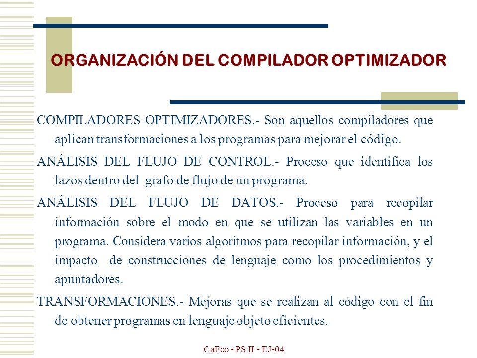 CaFco - PS II - EJ-04 ORGANIZACIÓN DEL COMPILADOR OPTIMIZADOR OPTIMIZADOR DE CÓDIGO ETAPAS PREVIAS ANÁLISIS DEL FLUJO DE CONTROL ANÁLISIS DEL FLUJO DE DATOS GENERADOR DE CÓDIGO TRANSFORMACIONES
