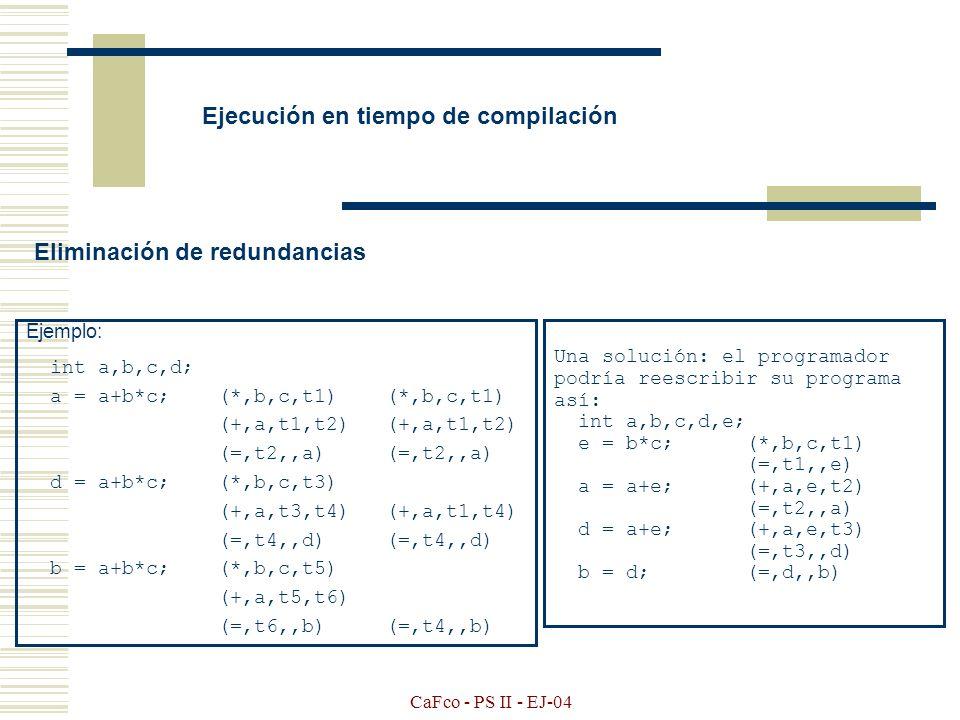 CaFco - PS II - EJ-04 Instrucciones especiales ( idioms ) Formas para que se de la optimización Ej: if (x&4 || x&8)...