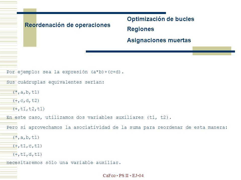 CaFco - PS II - EJ-04 Ejecución en tiempo de compilación Eliminación de redundancias Ejemplo: int a,b,c,d; a = a+b*c; (*,b,c,t1) (*,b,c,t1) (+,a,t1,t2) (+,a,t1,t2) (=,t2,,a) (=,t2,,a) d = a+b*c; (*,b,c,t3) (+,a,t3,t4) (+,a,t1,t4) (=,t4,,d) (=,t4,,d) b = a+b*c; (*,b,c,t5) (+,a,t5,t6) (=,t6,,b) (=,t4,,b) Una solución: el programador podría reescribir su programa así: int a,b,c,d,e; e = b*c; (*,b,c,t1) (=,t1,,e) a = a+e; (+,a,e,t2) (=,t2,,a) d = a+e; (+,a,e,t3) (=,t3,,d) b = d; (=,d,,b)