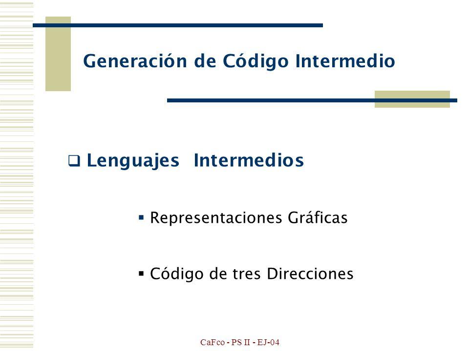 CaFco - PS II - EJ-04 UNIDAD III GENERACION DE CODIGO CUADRUPLOS NOTACION POLACA OPTIMIZACION DE CODIGO