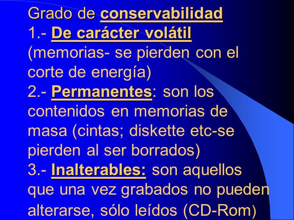 Grado de conservabilidad De carácter volátil Permanentes Inalterables: Grado de conservabilidad 1.- De carácter volátil (memorias- se pierden con el c