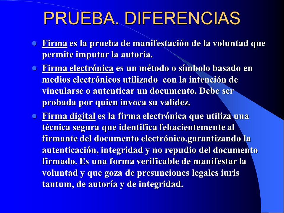 PRUEBA. DIFERENCIAS Firma es la prueba de manifestación de la voluntad que permite imputar la autoria. Firma es la prueba de manifestación de la volun