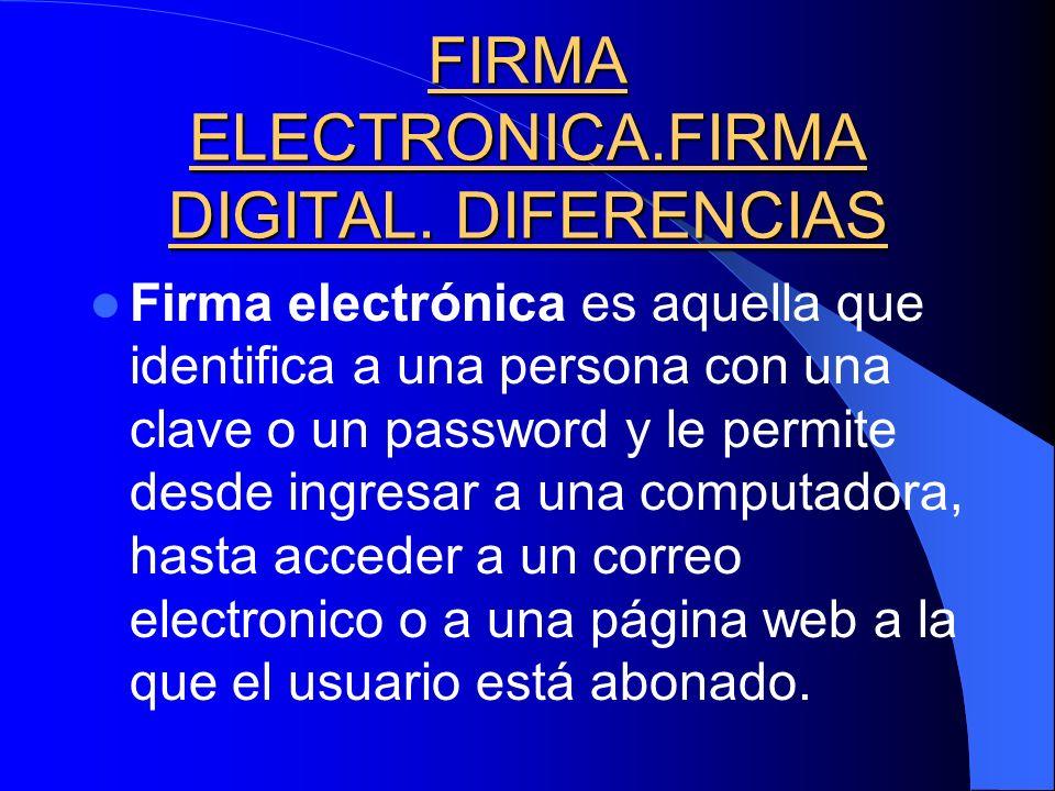 FIRMA ELECTRONICA.FIRMA DIGITAL. DIFERENCIAS Firma electrónica es aquella que identifica a una persona con una clave o un password y le permite desde
