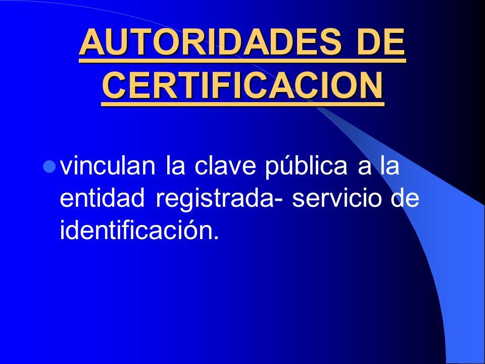 AUTORIDADES DE CERTIFICACION vinculan la clave pública a la entidad registrada- servicio de identificación.