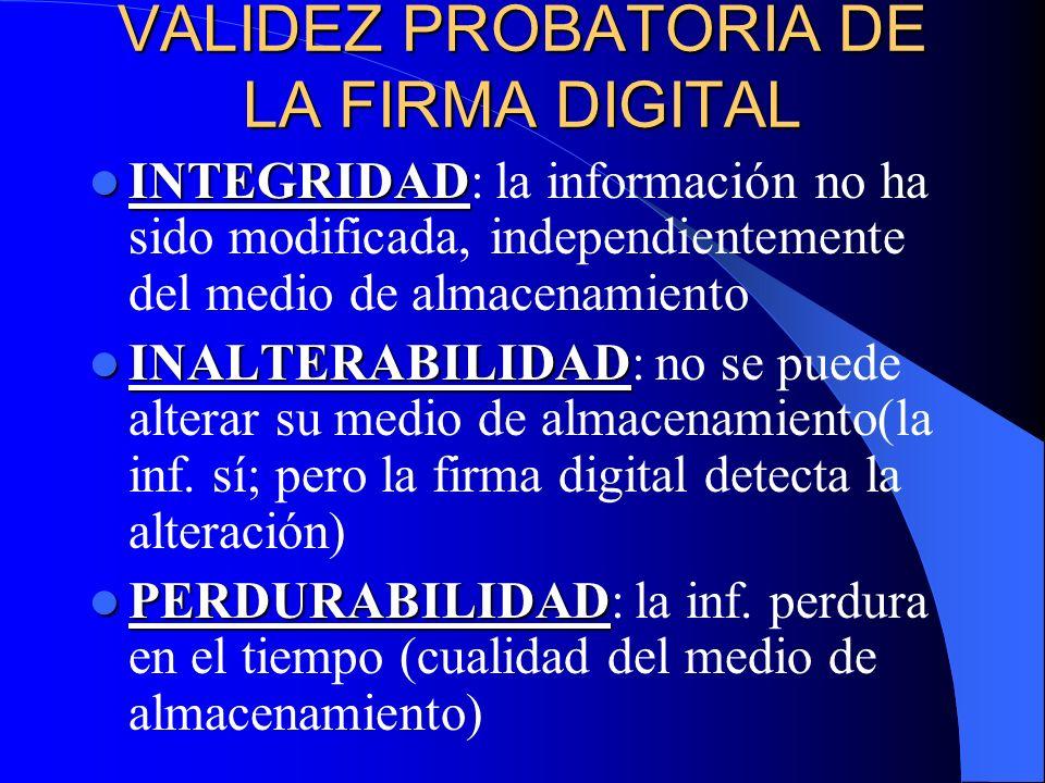 VALIDEZ PROBATORIA DE LA FIRMA DIGITAL INTEGRIDAD INTEGRIDAD: la información no ha sido modificada, independientemente del medio de almacenamiento INA