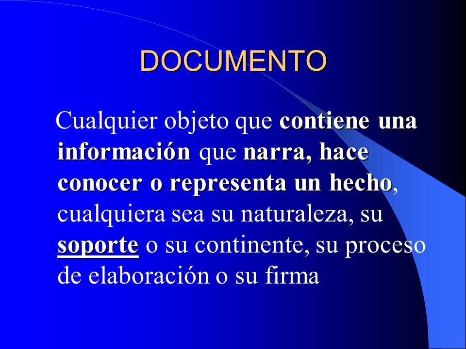 DOCUMENTO contiene una informaciónnarra, hace conocer o representa un hecho soporte Cualquier objeto que contiene una información que narra, hace cono