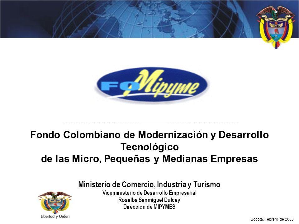Ministerio de Comercio, Industria y Turismo Viceministerio de Desarrollo Empresarial Rosalba Sanmiguel Dulcey Dirección de MIPYMES Fondo Colombiano de