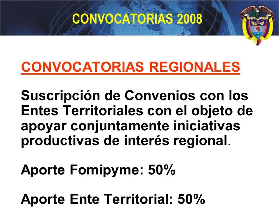 CONVOCATORIAS 2008 CONVOCATORIAS REGIONALES Suscripción de Convenios con los Entes Territoriales con el objeto de apoyar conjuntamente iniciativas pro