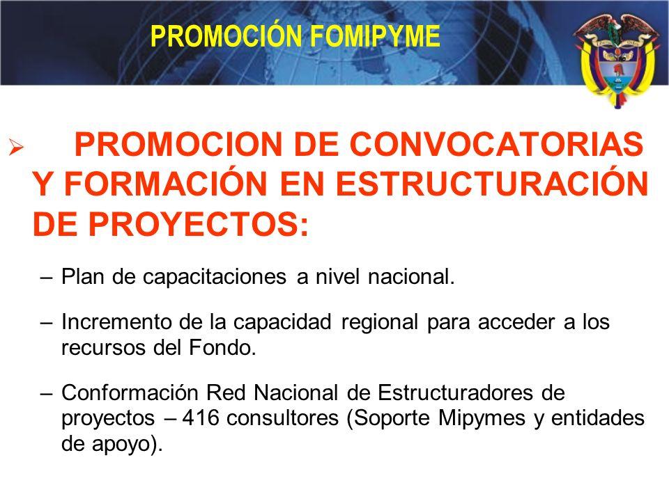 PROMOCION DE CONVOCATORIAS Y FORMACIÓN EN ESTRUCTURACIÓN DE PROYECTOS: –Plan de capacitaciones a nivel nacional. –Incremento de la capacidad regional