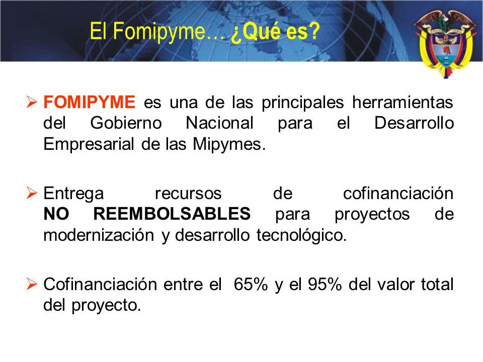 El Fomipyme… ¿Qué es? FOMIPYME es una de las principales herramientas del Gobierno Nacional para el Desarrollo Empresarial de las Mipymes. Entrega rec