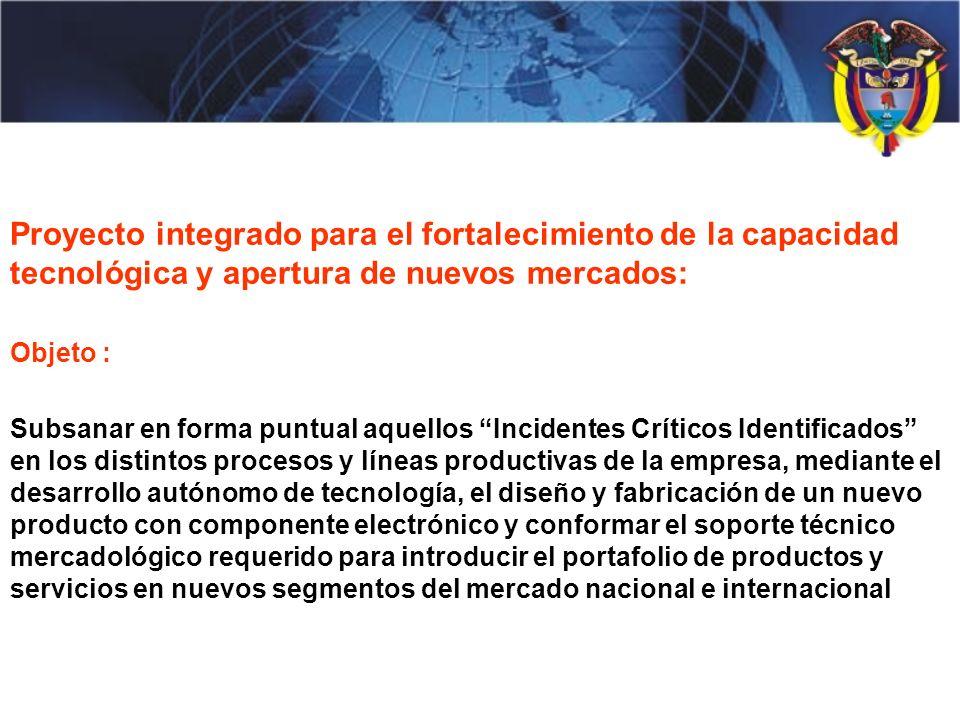 Proyecto integrado para el fortalecimiento de la capacidad tecnológica y apertura de nuevos mercados: Objeto : Subsanar en forma puntual aquellos Inci