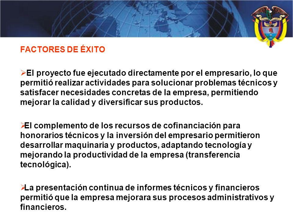 FACTORES DE ÉXITO El proyecto fue ejecutado directamente por el empresario, lo que permitió realizar actividades para solucionar problemas técnicos y