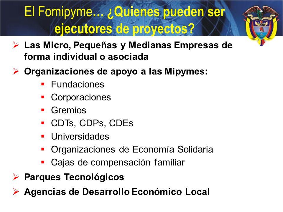El Fomipyme … ¿Quienes pueden ser ejecutores de proyectos? Las Micro, Pequeñas y Medianas Empresas de forma individual o asociada Organizaciones de ap