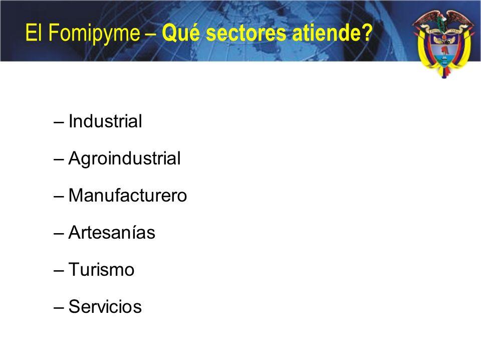 El Fomipyme – Qué sectores atiende? –Industrial –Agroindustrial –Manufacturero –Artesanías –Turismo –Servicios