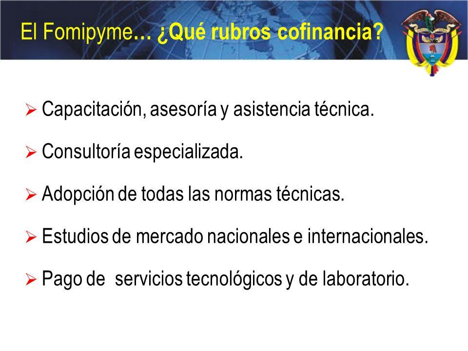 El Fomipyme … ¿Qué rubros cofinancia? Capacitación, asesoría y asistencia técnica. Consultoría especializada. Adopción de todas las normas técnicas. E