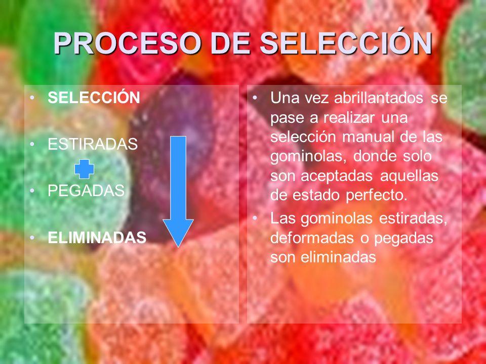 PROCESO DE SELECCIÓN SELECCIÓN ESTIRADAS PEGADAS ELIMINADAS Una vez abrillantados se pase a realizar una selección manual de las gominolas, donde solo