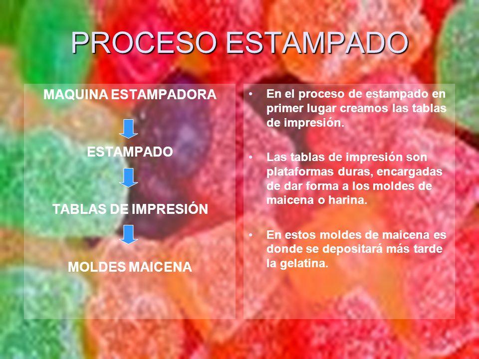 PROCESO ESTAMPADO MAQUINA ESTAMPADORA ESTAMPADO TABLAS DE IMPRESIÓN MOLDES MAICENA En el proceso de estampado en primer lugar creamos las tablas de im
