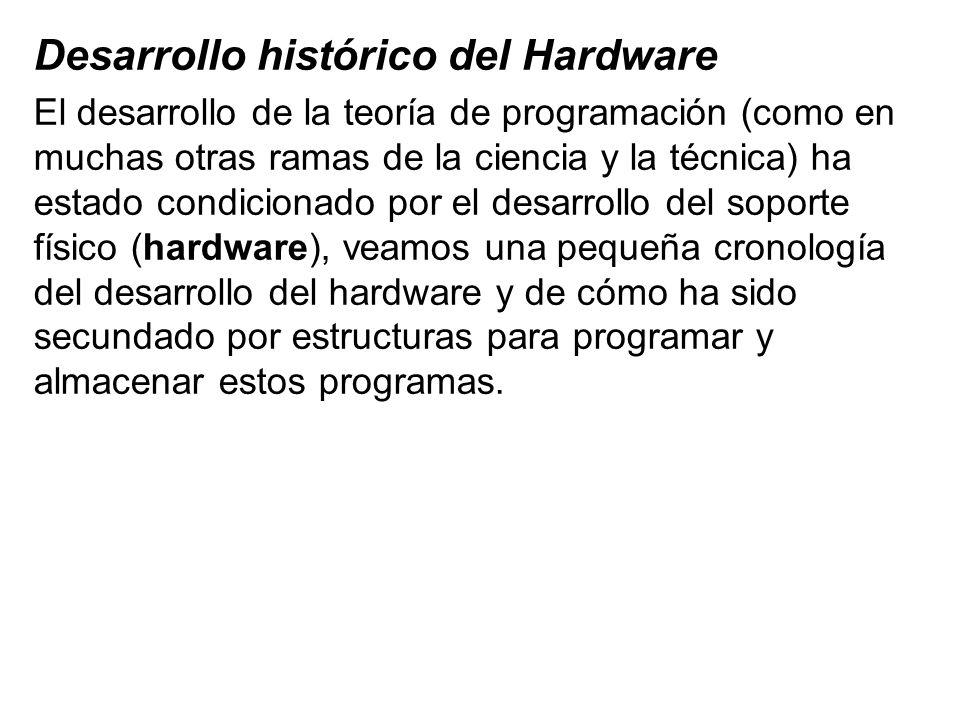 Desarrollo histórico del Hardware El desarrollo de la teoría de programación (como en muchas otras ramas de la ciencia y la técnica) ha estado condici