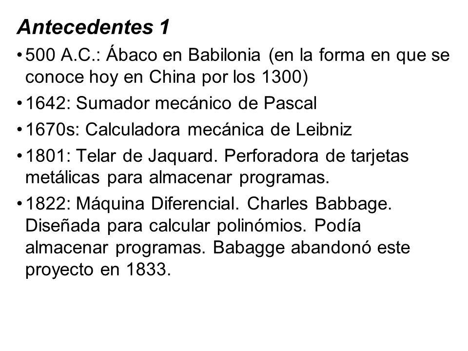 Antecedentes 1 500 A.C.: Ábaco en Babilonia (en la forma en que se conoce hoy en China por los 1300) 1642: Sumador mecánico de Pascal 1670s: Calculado
