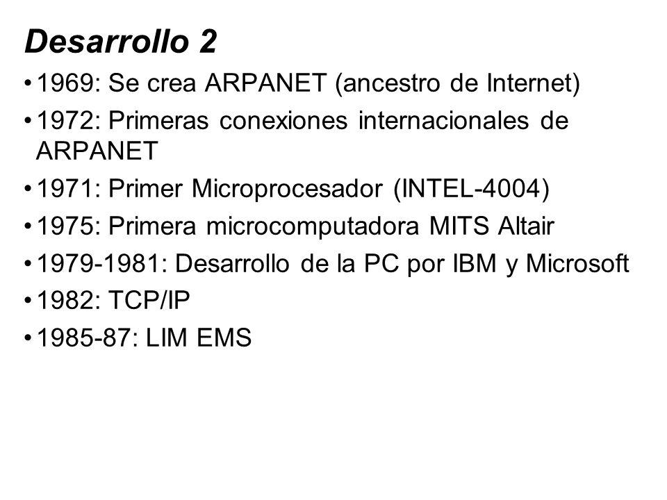 Desarrollo 2 1969: Se crea ARPANET (ancestro de Internet) 1972: Primeras conexiones internacionales de ARPANET 1971: Primer Microprocesador (INTEL-400
