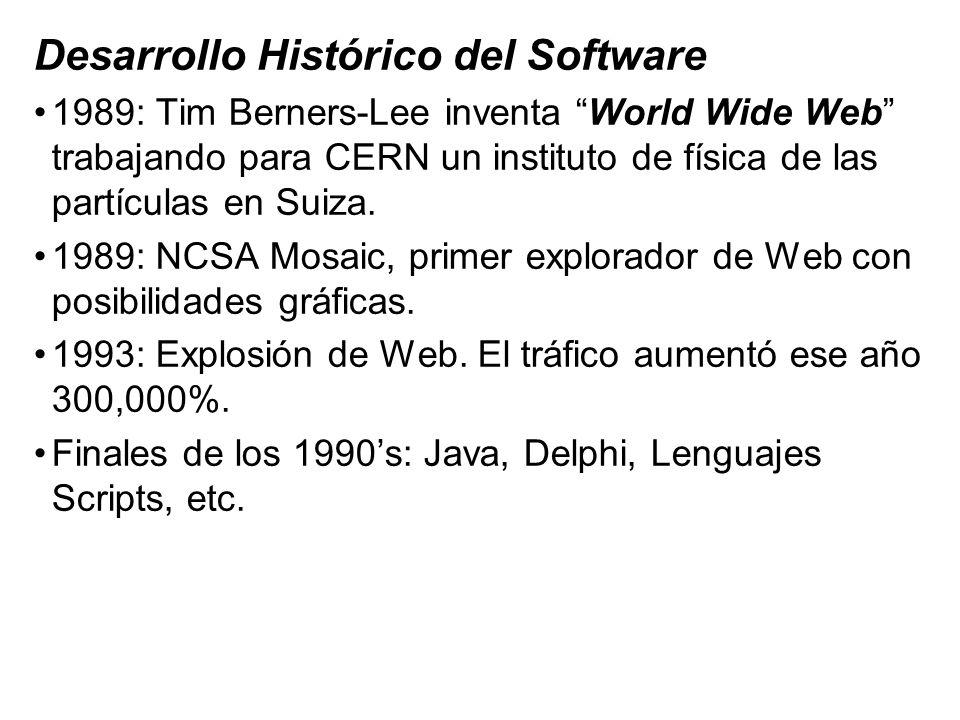Desarrollo Histórico del Software 1989: Tim Berners-Lee inventa World Wide Web trabajando para CERN un instituto de física de las partículas en Suiza.