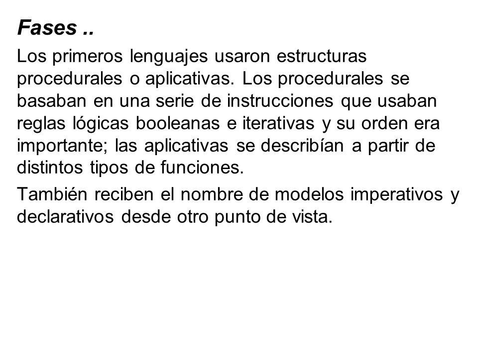Fases.. Los primeros lenguajes usaron estructuras procedurales o aplicativas. Los procedurales se basaban en una serie de instrucciones que usaban reg