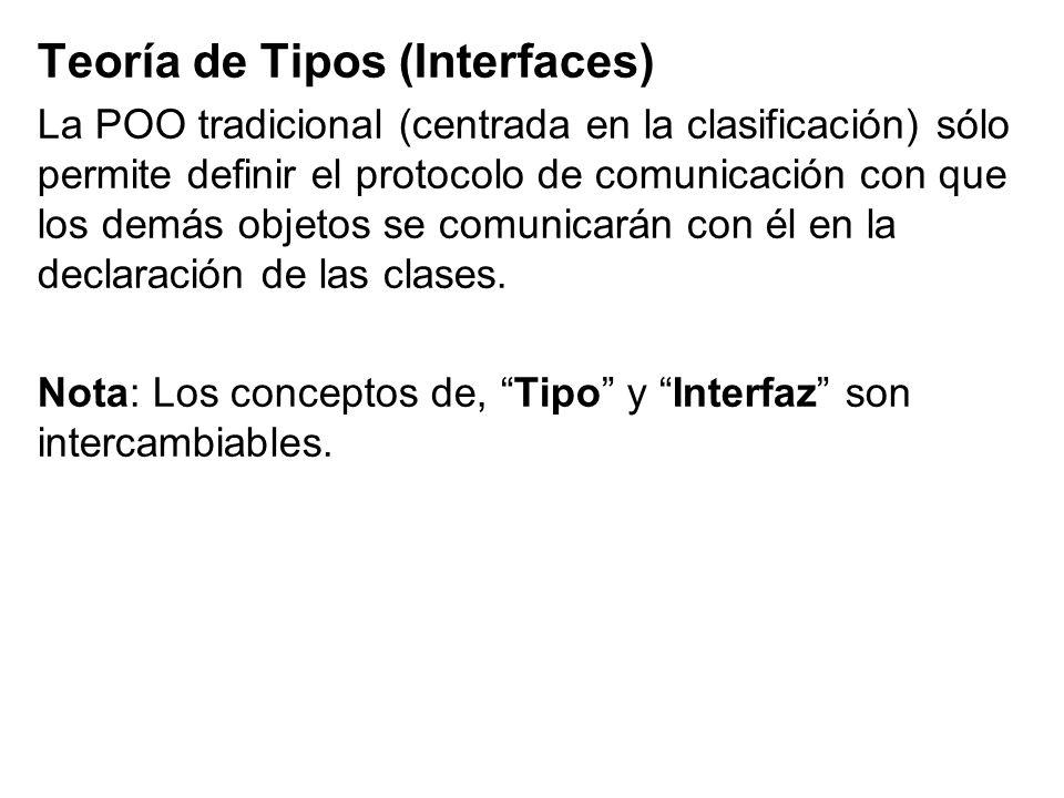 Teoría de Tipos (Interfaces) La POO tradicional (centrada en la clasificación) sólo permite definir el protocolo de comunicación con que los demás obj