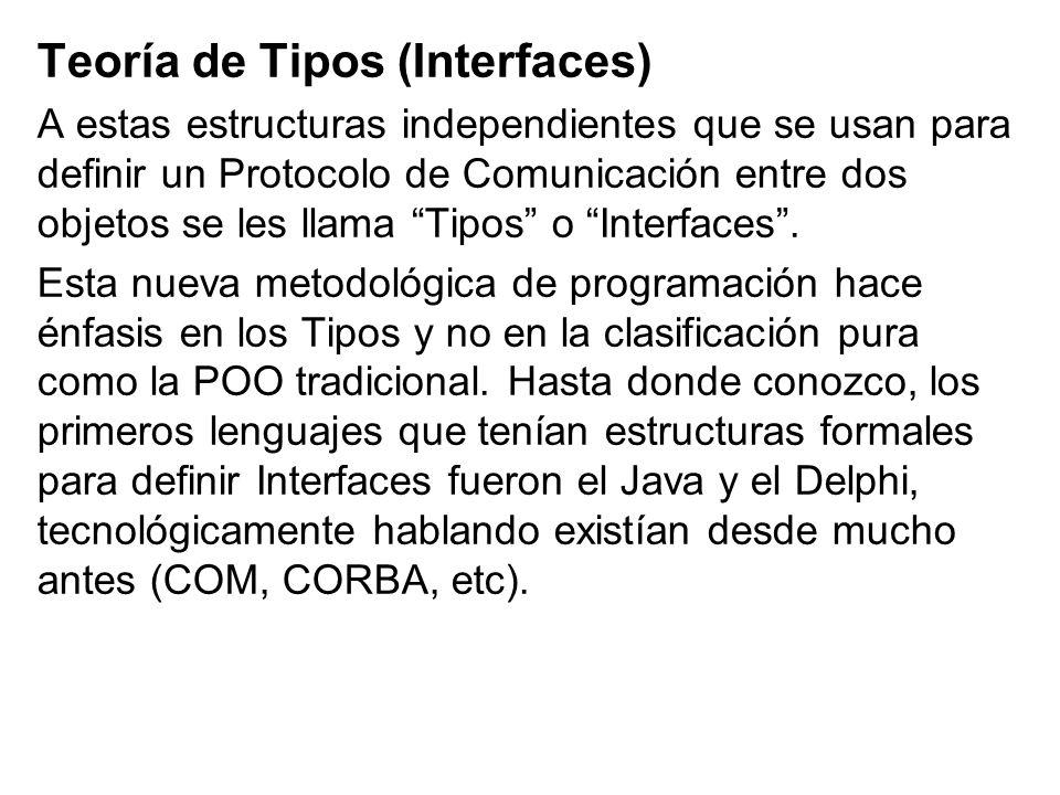 Teoría de Tipos (Interfaces) A estas estructuras independientes que se usan para definir un Protocolo de Comunicación entre dos objetos se les llama T