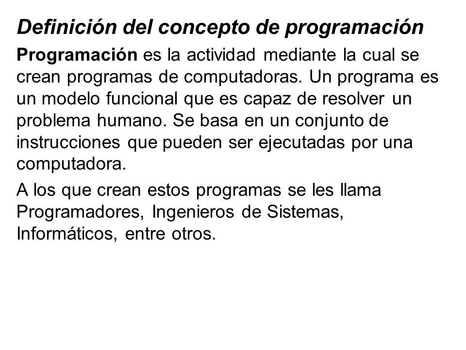 Definición del concepto de programación Programación es la actividad mediante la cual se crean programas de computadoras. Un programa es un modelo fun