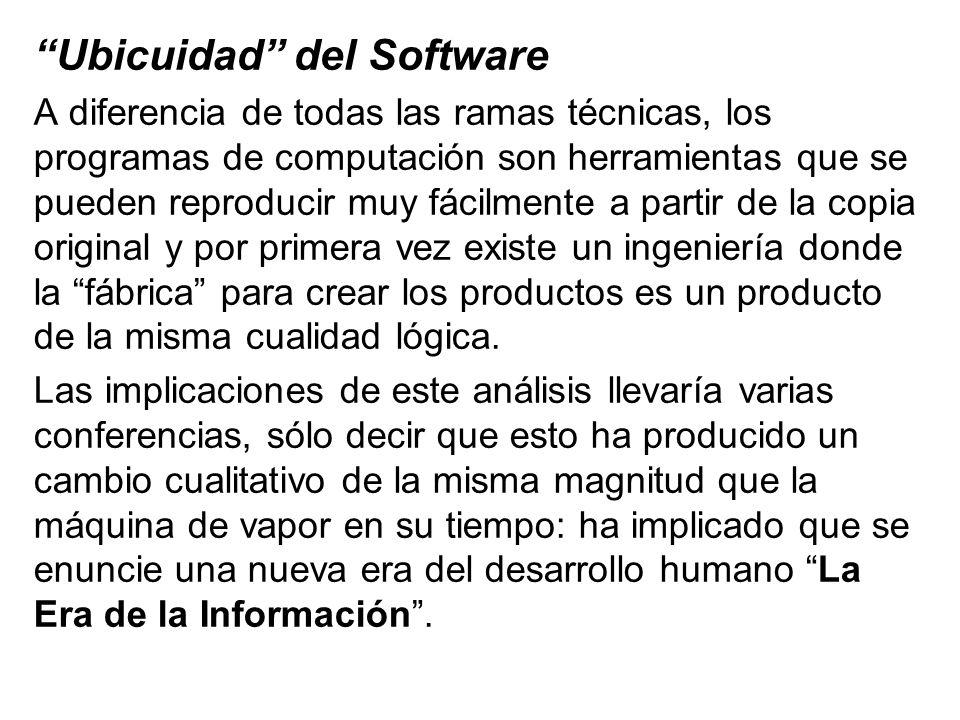 Ubicuidad del Software A diferencia de todas las ramas técnicas, los programas de computación son herramientas que se pueden reproducir muy fácilmente