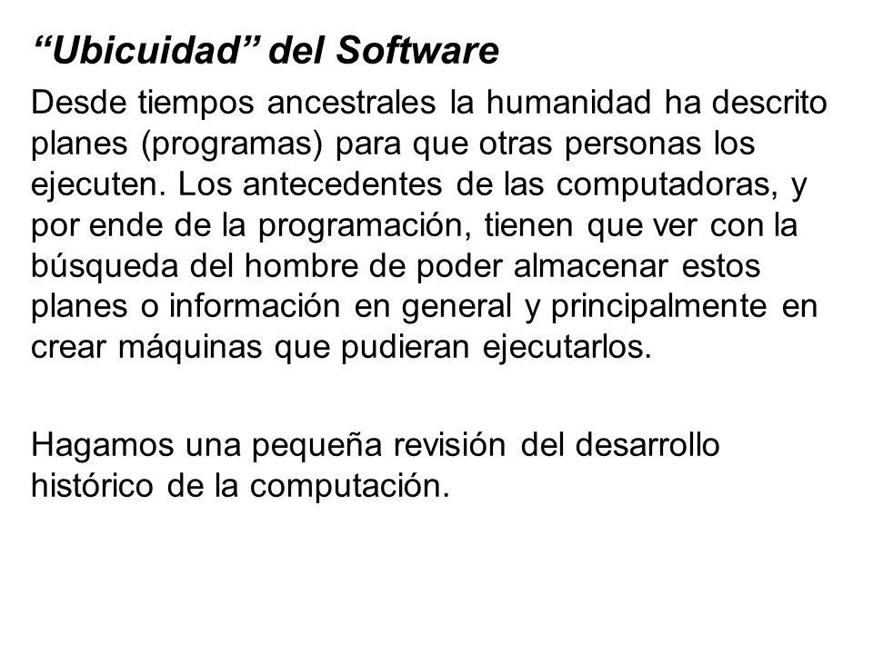 Ubicuidad del Software Desde tiempos ancestrales la humanidad ha descrito planes (programas) para que otras personas los ejecuten. Los antecedentes de