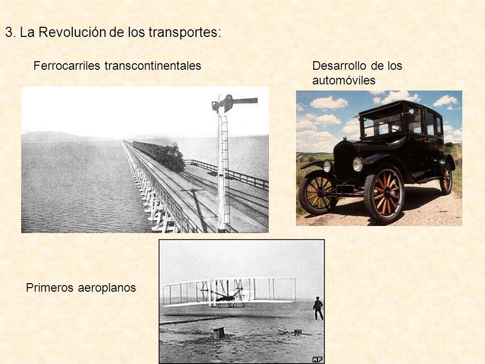 3. La Revolución de los transportes: Ferrocarriles transcontinentales Desarrollo de los automóviles Primeros aeroplanos