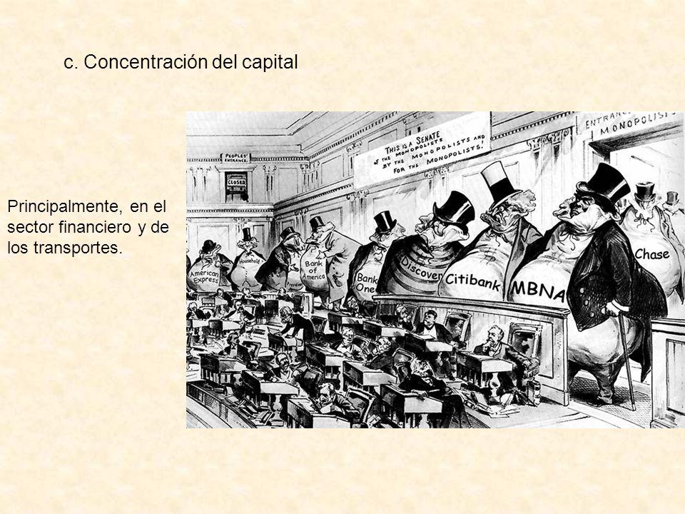c. Concentración del capital Principalmente, en el sector financiero y de los transportes.