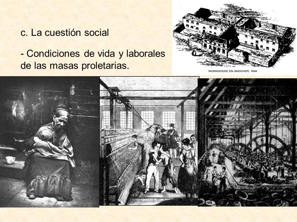 c. La cuestión social - Condiciones de vida y laborales de las masas proletarias.