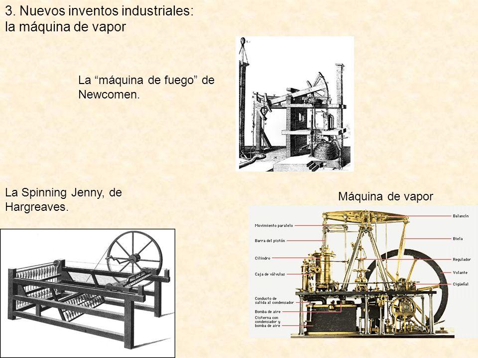 3.Nuevos inventos industriales: la máquina de vapor La máquina de fuego de Newcomen.
