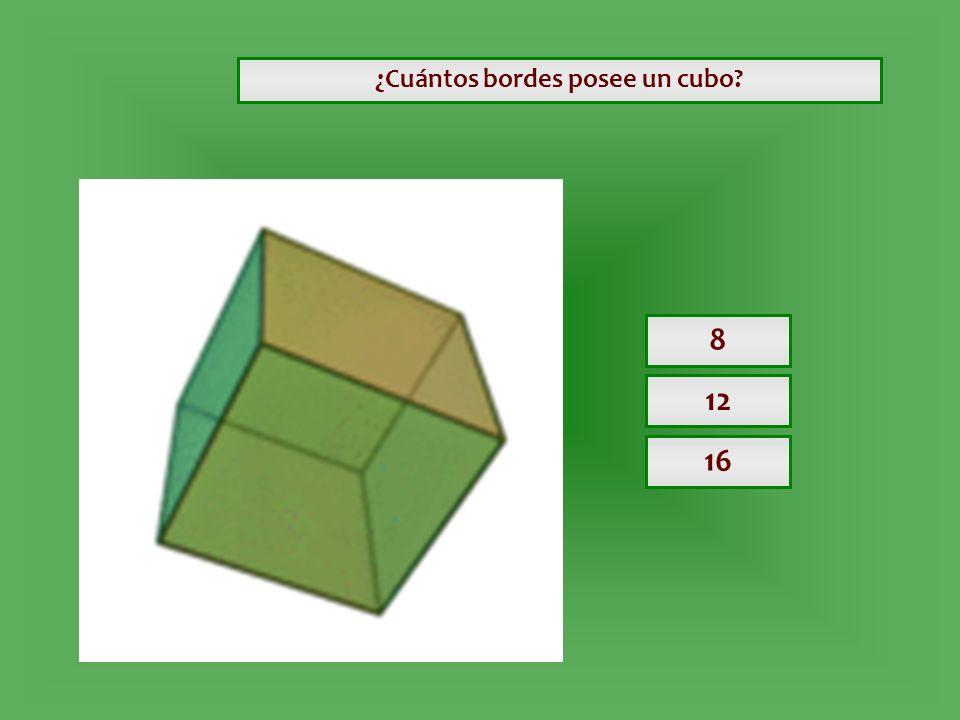 ¿Cuántos bordes posee un cubo? 8 12 16