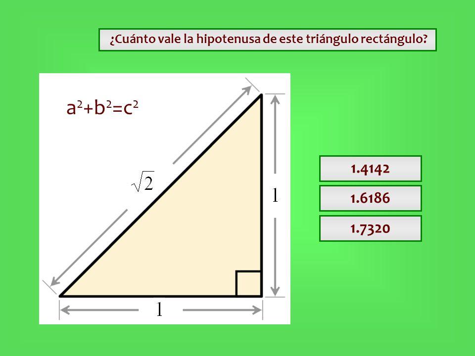¿Cuánto vale la hipotenusa de este triángulo rectángulo? 1.4142 1.6186 1.7320 a 2 +b 2 =c 2
