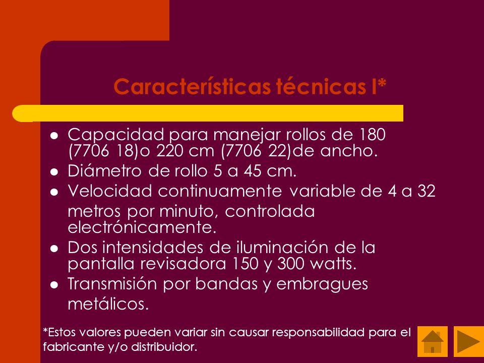 Características técnicas I* Capacidad para manejar rollos de 180 (7706 18)o 220 cm (7706 22)de ancho. Diámetro de rollo 5 a 45 cm. Velocidad continuam