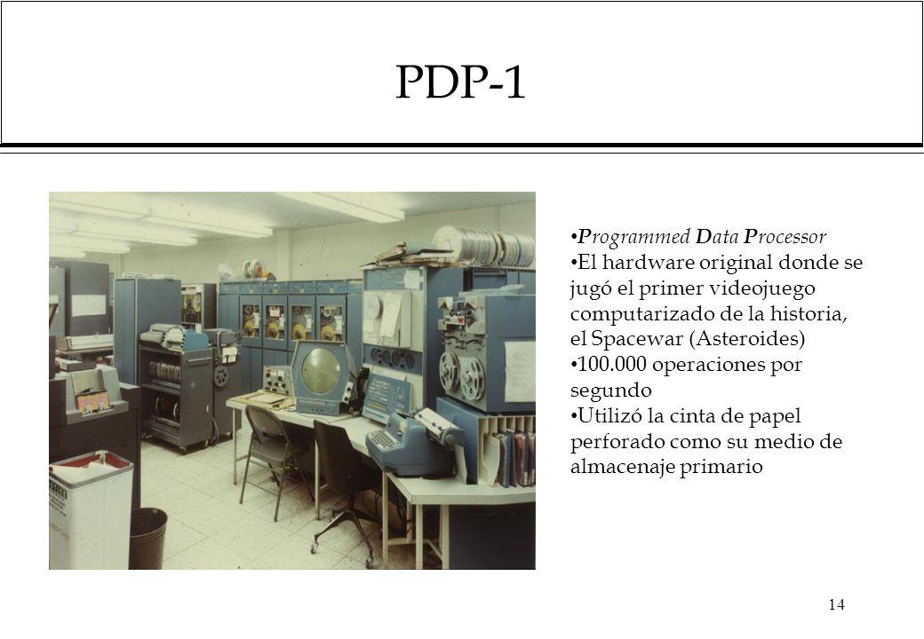 PDP-1 14 P rogrammed D ata P rocessor El hardware original donde se jugó el primer videojuego computarizado de la historia, el Spacewar (Asteroides) 100.000 operaciones por segundo Utilizó la cinta de papel perforado como su medio de almacenaje primario