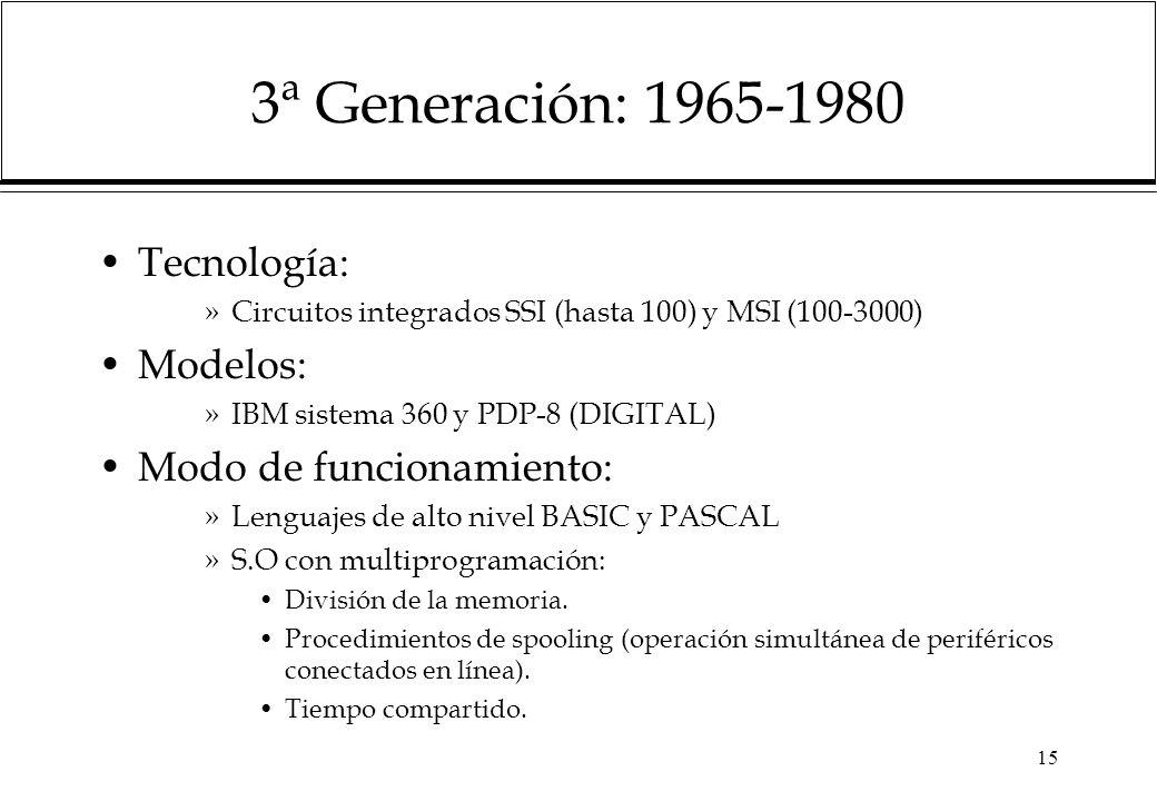 15 3ª Generación: 1965-1980 Tecnología: »Circuitos integrados SSI (hasta 100) y MSI (100-3000) Modelos: »IBM sistema 360 y PDP-8 (DIGITAL) Modo de funcionamiento: »Lenguajes de alto nivel BASIC y PASCAL »S.O con multiprogramación: División de la memoria.